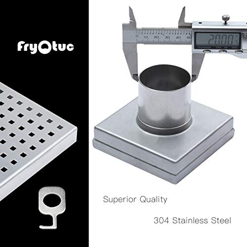 Fryotuc Rustproof Shower Drain 6 Inch Bathroom Floor Drain Brushed Shower Drain Cover with Quadrate Pattern by Fryotuc (Image #2)