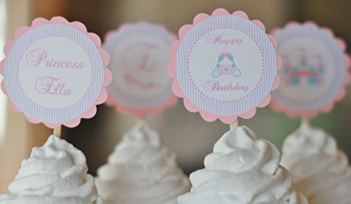 12 - Pink, Purple & Blue Stripe Princess Castle Tiara Birthday Cupcake Toppers - Party Packages, Tags, Banners, Door Signs Available