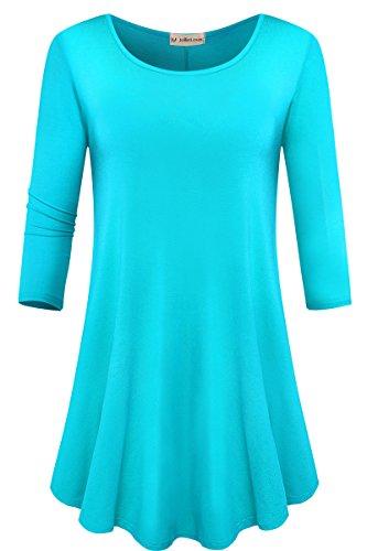 - JollieLovin Womens 3/4 Sleeve Loose Fit Swing Tunic Tops Basic T Shirt (Lake Blue, M)