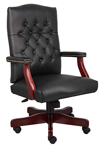 (Boss Office Products B905-BK Classic Executive Caressoft Chair with Mahogany Finish in)