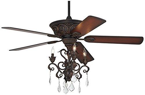 "52"" Casa Contessa Dark Bronze Chandelier Ceiling Fan"