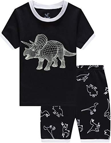 Pajamas for Boys Summer Kids Grow in The Dark Dinosaur Short Pj Set Baby Clothes 7t