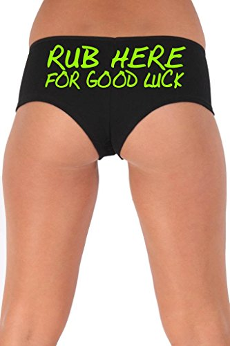 [Women's Juniors Green Rub Here For Good Luck Booty Shorts: BLACK LARGE] (Biker Babe Sexy Costumes)