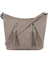 Crossbody Hobo Slouch Bucket Purse Bag   Functional Multi Pocket with Tassel    Adjustable Strap 5abdeb9da8