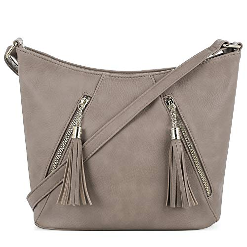 Taupe Womens Handbag - DELUXITY Hobo Crossbody, Taupe