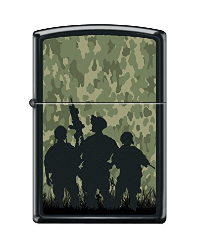 Zippo Custom Design Camo Soldiers Reg Blk Matte Windproof Collectible Lighter. Made in USA Limited Edition & Rare (Camo Rare)