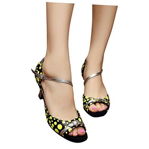Misu Keltainen Tango 2 Peep Sandaalit Toe Kantapää Naisten Tanssikengät 2 Käytännössä Salsa Latin Tanssisali raOqrw