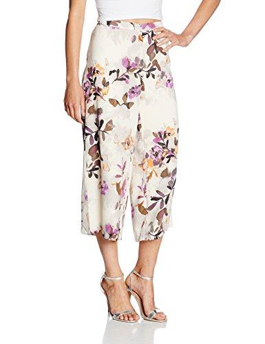 VERO MODA Damen Hose Vmwanda Wide Culottes E10, Mehrfarbig (Antique White Aop:Japan Flower Purple), 36 (Herstellergröße: S)