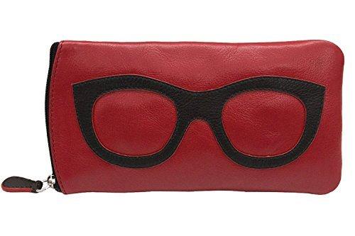 ili New York 6462 Leather Eyeglass Case (Red/Black)