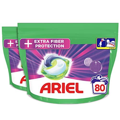 Ariel Allin1 Protection Des Fibres Lessive Capsules, 80 Lavages (40 Pods x 2), Élimine Les Taches Tenaces Et Protège Les Fibres