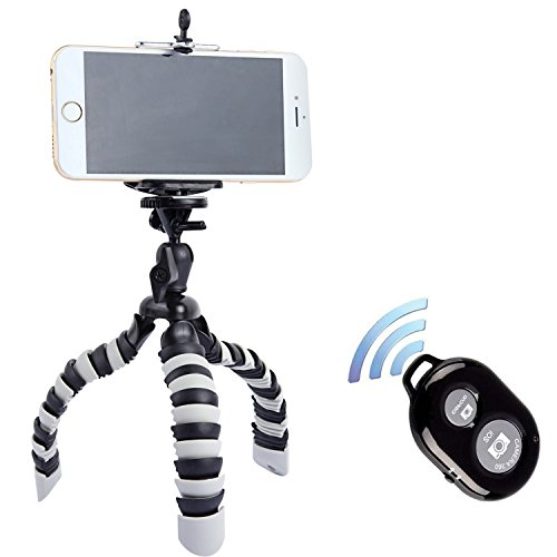 Tripod, Peyou® [Upgarded Version] 3 in 1 Octopus Style Portable and Adjustable Tripod Stand + Phone Mount / Holder for iPhone 7/7Plus 6S/6 6S Plus/6 Plus SE/5S/5/5C Samsung Galaxy S7/S7 Edge S6/S6 Edge Note 5, Other Phones Width Between 55mm - 85mm + Bluetooth Wireless Remote Shutter