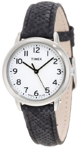 Timex Women's T2N964 Elevated Classics Black Python Patterned Strap - Watch Leather Animal Black Silver