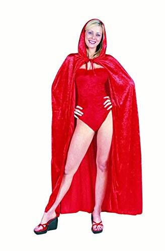 56 Inch Hooded Cape - Velvet (Red;One Size)