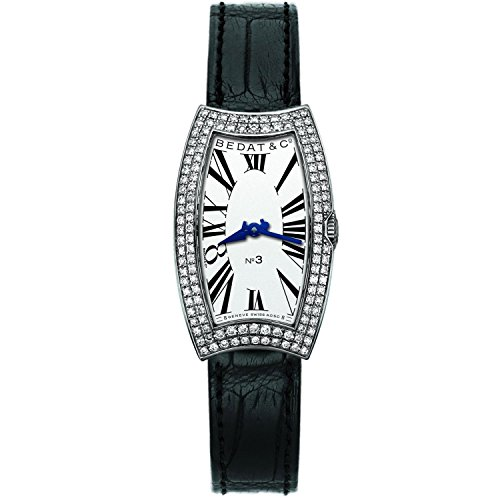 Bedat & Co Women's No.3 Diamond Black Leather Band Steel Case Quartz Silver-Tone Dial Watch 384.030.600