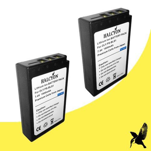 Halcyon Two 1800 mAH Lithium Ion Replacement Battery for Olympus Pen Digital E-PM1, E-P1, E-P2, E-P3, E-PL1, E-PL3 SLR Evolt-Series E-40, E-410, E-420, E-450, E-600, E-620 Digital Cameras ()