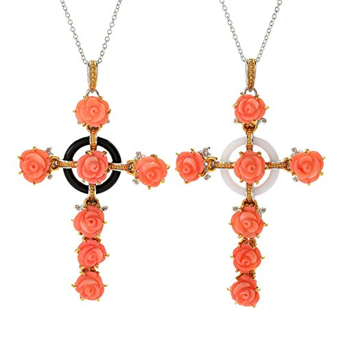 Michael Valitutti Palladium Silver Italy Carved Bamboo Coral Flower & Gemstone Cross - Gemstone Carved Flower Beads
