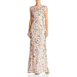 Rosegold Long Floral Cap Sleeve Sequin Dress
