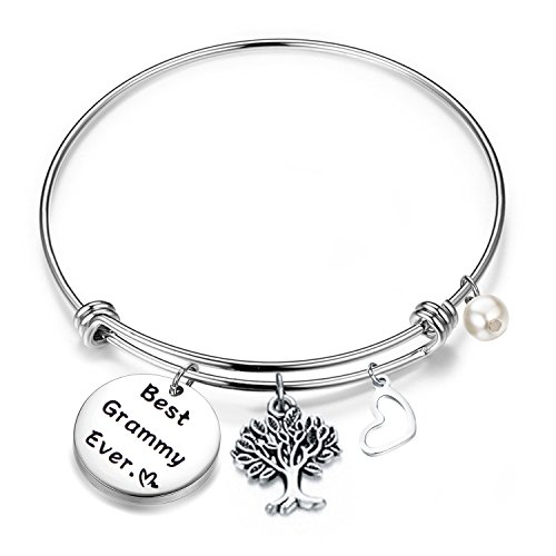 FEELMEM Bracelet Gift for Grammy Best Grammy Ever Expandable Wire Bangle Grandma Gift (Silver) (Gift Grammy)