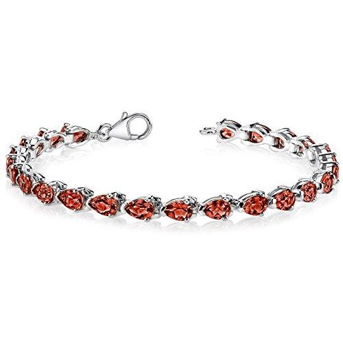 Magnificent Desire: 12.00 carats Pear Shape Garnet Gemstone Bracelet in Sterling Silver Rhodium Nickel Finish (Tennis Bracelet Pear)