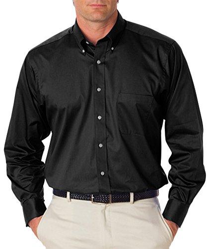 Van Heusen Men's Long Sleeve Relaxed Twill Dress Shirt, Blk, X-Large ()