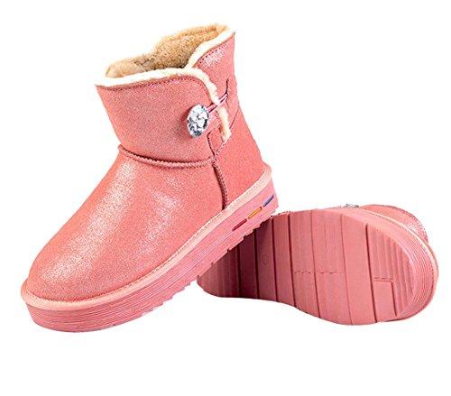 HooH Womne's 5801 Pink Leather Boots Warm Snow Diamonds Shiny CzCrH