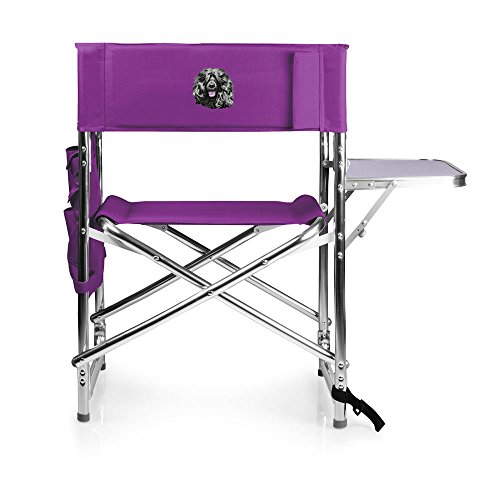 Cherrybrook Dog Breed Embroidered Picnic Time Sports Chair - Purple - Portuguese Water Dog