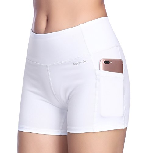 Dragon Fit Tummy Control Yoga Shorts High Waist Out Pockets Power Flex Workout Running Yoga Shorts 4 Way Stretch(Large, pockets-shorts15-white) by Dragon Fit (Image #5)