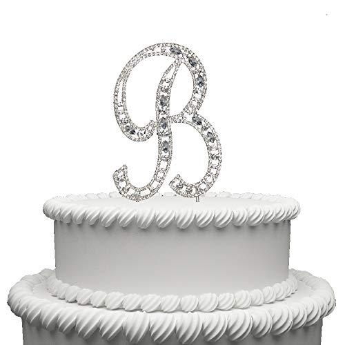 Hatcher lee Diamante Rhinestone Crystal Monogram Letter Alphabet Cake Toppers for Wedding Birthday Party Decoration 1pcs -
