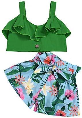 Toddler Kids Girl Ruffled Outfit Sling Halter Crop Top Shirt Irregular Maxi Denim Skirts Dress Clothes Set