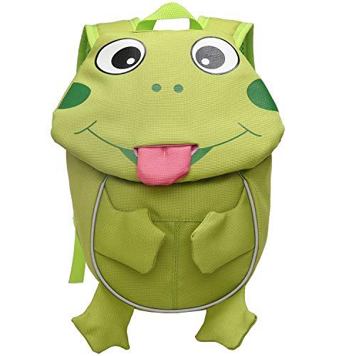 (Cute Animal Frog Children Backpack with Chest Strap Leash Kids Nursery Knapsack)