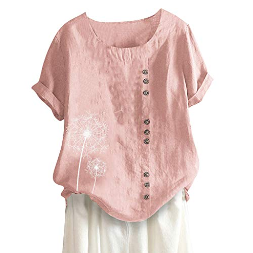 (Londony❀♪ Women's Short Sleeve Cotton Linen Jacquard Blouses Top T-Shirt Linen Retro Chinese Frog Button Tops Blouse Pink)
