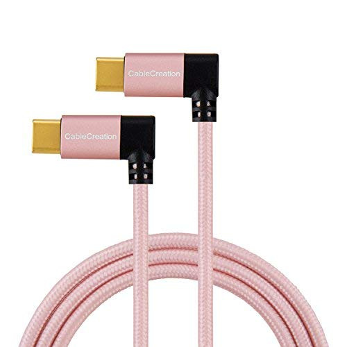 USB-C to USB-C Cable Right Angle, CableCreation 4ft Dual 90 Degree USB Type C Braided Cable, Compatible MacBook(Pro), Galaxy S10/S10+/S9/S9+ & New Type C Devices,1.2M/Rose Gold with Aluminum Case