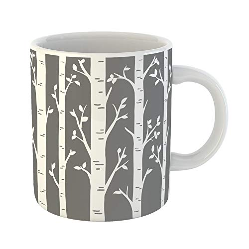 Emvency Coffee Tea Mug Gift 11 Ounces Funny Ceramic Birch Grove Aspen Trees Leaves of Laser Cut Pattern Suitable for Cutting Gifts For Family Friends Coworkers Boss Mug