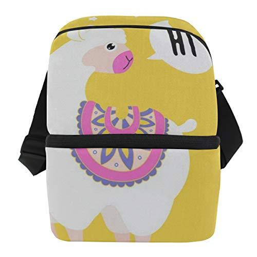 Lovexue Lunch Bag Hi Alpaca Reusable Cooler Bag Adult Leakproof Grocery Storage Zipper Tote Bags for Biking