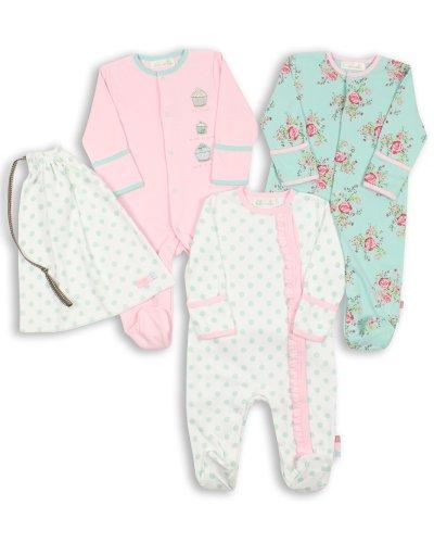 The Essential One - Baby Mädchen Schlafanzuge/Schlafanzug/Einteiler/ Strampler (3-er Pack mit Beutel) 50cm ESS75
