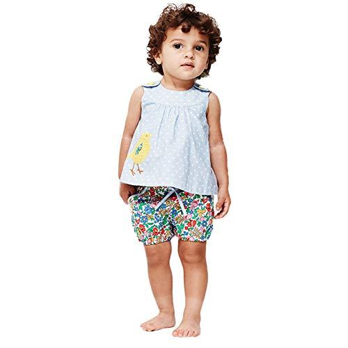 Toddler Little Girls Srtipe Cotton Sleeveless Shirt Vest Shorts 2PC Set Outfits ()
