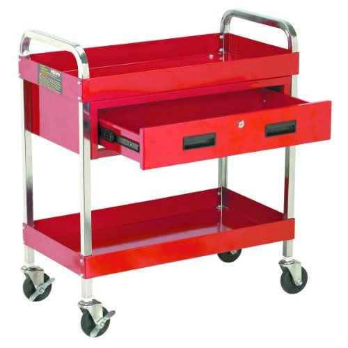 30 in. Large 350 lb. Capacity Glossy Red Service Cart With Locking Drawer Special by US General