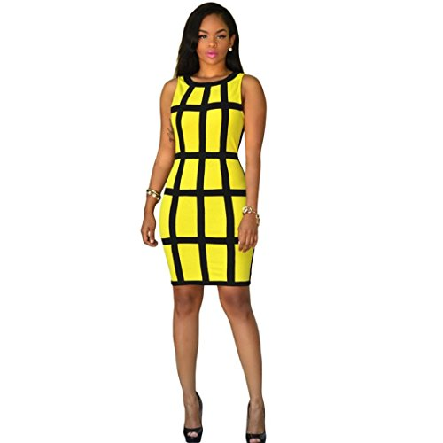 Womail Casual Party Cocktail Club Pencil Sheath Dress Black for Ladies (XL, Yellow)