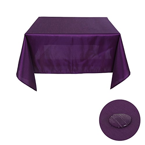 Deconovo Solid Color Slub Table Cloth Water Risestant Table Cover Square Tablecloths Polyester Tablecloth for Parties 54W x 54L Inch Purple (Square Tablecloth Purple)