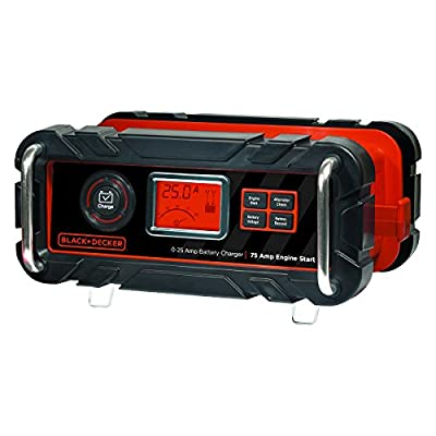BLACK+DECKER BC25BD Fully Automatic 25 Amp 12V Bench Battery Charger/Maintainer with 75A Engine Start, Alternator Check, Cable Clamps: Automotive