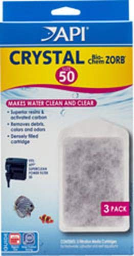 50 API Crystal BIO-Chem ZORB Size 50 Aquarium Filtration Media Cartridges for API SUPERCLEAN 50 Filters 3-Count Box