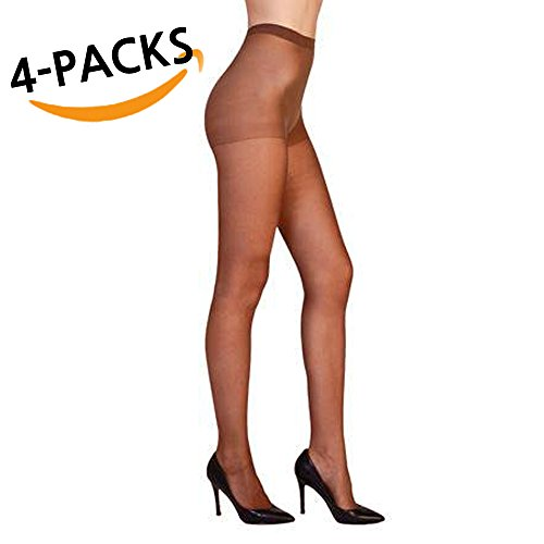 Women High Support Pantyhose Stockings - 4 Packs of Silky Soft Comfortable Stretchy Waistband Sheer Nylon and Spandex Hosiery Panty hose with Reinforced Toe for Woman - Onesize California ()