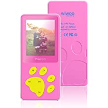 Aniee MP3 Player/MP4 Player, Kids MP3 Player with FM Radio/Video/Photo Viewer & Voice Recorder, Music Player with Cartoon Bear Paw Button Support Up to 64GB, Pink