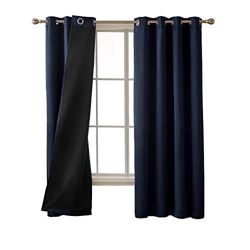 Deconovo Full Blackout Curtains Solid Grommet Thermal Insulated Faux Silk Satin Window Curtains for Bedroom 52 x 72 Inch Navy Blue 2 Panels