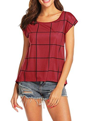 (FineFolk Women's Casual Tunic Top Slim Fit Button Decor Grid Printed Letter Print Crew Neck Short Sleeve Summer Shirt,Wine Black Line,Large)
