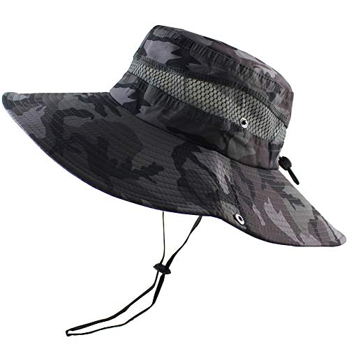 CAMOLAND Summer Fishing Sun Boonie Hat Camouflage Outdoor UV Protection Large Brim Bucket Safari Cap Breathable -