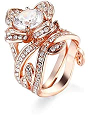 Fashion Flower Rose Gold Plated Zirconia Jewelry Finger Rings for Women