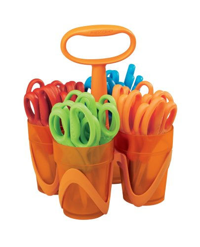 Fiskars 5 Inch Blunt-tip Kids Scissors with 4-Cup Carrying Caddy, Class pack of 24 Pairs (12-34667097)