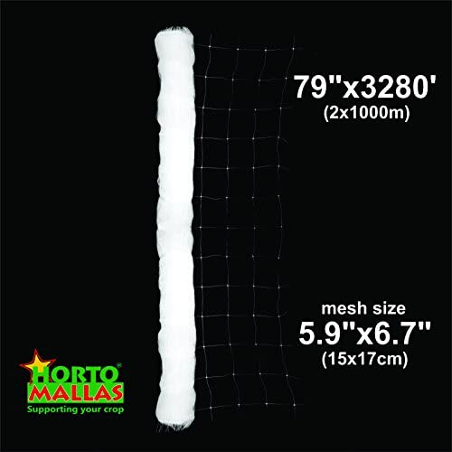 Hortomallas Professional Grade Vegetable Support Trellis Netting Roll Scrog Net Roll, 6-Feet and 7 Inches by 3280-Feet 79 x3280 2m x 1000m mesh 5.9 x6.7 15cm x 17cm