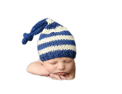 Ufraky Newborn Baby Handmade Crochet Knit Stripe Elf Hat Photograph Prop